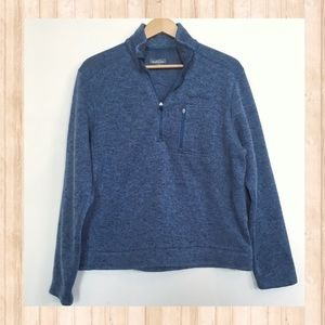 Eddie Bauer heather blue quarter zip jacket
